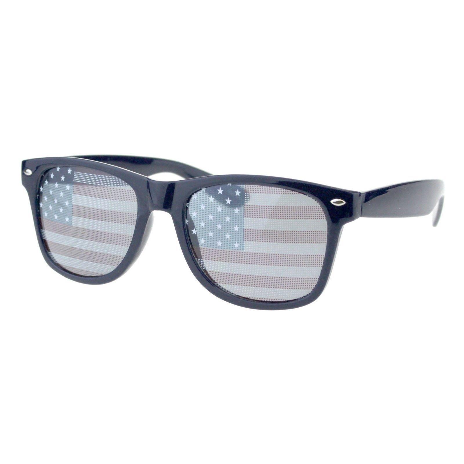 USA American Flag Lens Sunglasses Classic Square Frame UV 400