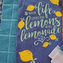 Lemon Kitchen Set, 8pc, Towels Mitts Cloths, When Life Gives You Lemons Lemonade image 3
