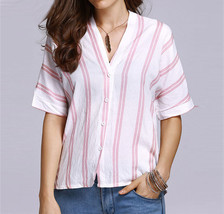Summer Slim Fit Casual Women Stripes V Neck Bat Sleeve Blouse Shirt - $12.35