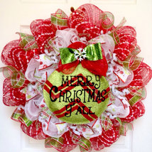 Merry Christmas Y'All Ornament Handmade Deco Mesh Holiday Wreath - $89.99