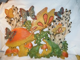 "Vintage 1960's Homco 17"" Wall Hanging Plaque Frogs,Butterflies & Mushroo... - $12.99"