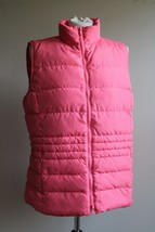 Talbots M Coral Pink Puffer Down Quilted Full Zip Mock Neck Vest - $28.49