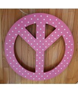 Pottery Barn Teen Lighted Peace Sign Wall Light Decor Dorm Room Pink White - $148.45