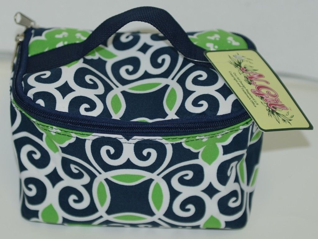 NGIL THQ277NY Canvas Cosmetic Bag Geometric Design Colors Navy White and Green