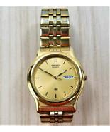 VINTAGE SEIKO Quartz Men's Watch Gold Tone Band Very Good NON-WORKING Pa... - $27.44