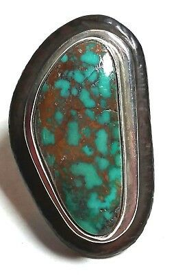 Primary image for STERLING SILVER SIGNED TURQUOISE COPPER MATRIX STERLING SILVER & EBONY WOOD RING