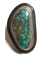 STERLING SILVER SIGNED TURQUOISE COPPER MATRIX STERLING SILVER & EBONY W... - $200.00