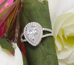 Solitaire With Accents Ring Pear Shape Diamond 10k White Gold Plated 925... - $103.06 CAD
