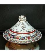 "Kütahya Porselen Turkish Hand Painted ""SULTAN"" Floral Covered Sugar Bowl - $20.75"