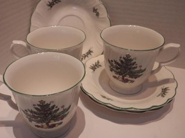 (3) NIKKO Cups & Saucers Happy Holidays Swirled Edge Christmas Tree - $22.72