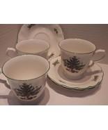 (3) NIKKO Cups & Saucers Happy Holidays Swirled Edge Christmas Tree - $22.72