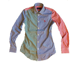 ralph lauren multi colored Patchwork Custom Fit Oxford Shirt  Sizes 0, 2... - $30.15