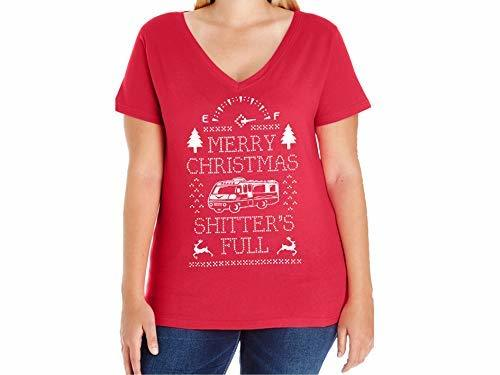 Primary image for Women's Merry Christmas Shitters' Full Plus Size V-Neck T Shirt 14-16 Red