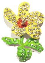 Flower Pin Brooch Sunny Yellow Green Crystal Multicolor Metal Spring Theme - $24.99