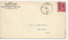 1899 Oceanic, NJ/Red Bank, NJ Discontinued/Defunct Post Office (DPO) Postal Cove - $9.95