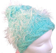 Mint Green Hand Knit Hat with sparkly white embellishment - $25.00