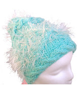 Mint Green Hand Knit Hat with sparkly white embellishment - $28.50
