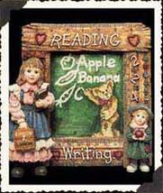 """Boyds Dollstone Frame """"Laura w/Jane.. First day of School"""" #27552- 1E-1997- NIB - $19.99"""