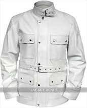NWT Bane Belted White Buckle Men Women Genuine Leather Jacket Coat - All Sizes - $179.99