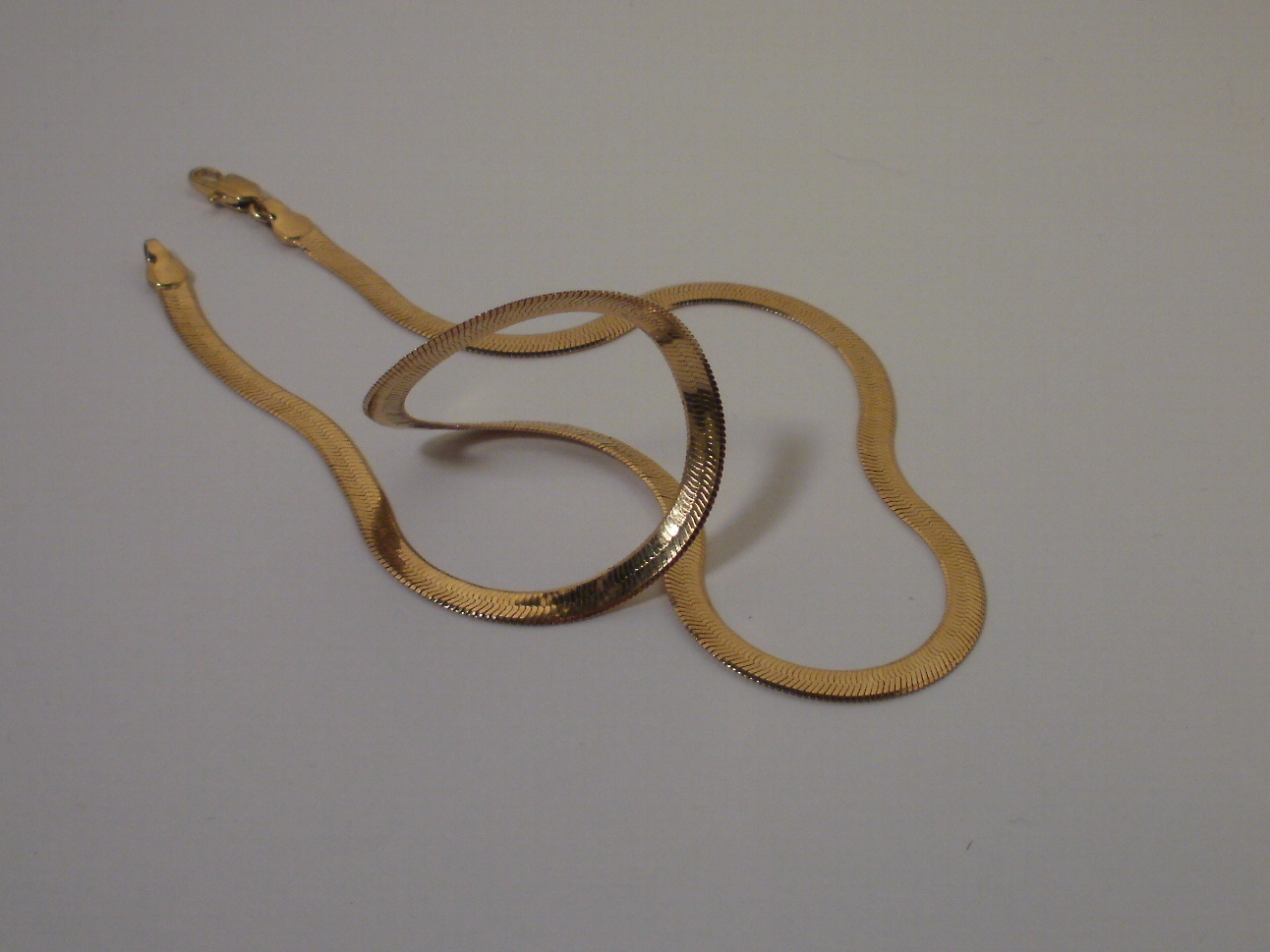14K Yellow Gold overlay Flex Herringbone necklace