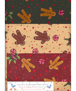Gingerbread Fabric Christmas, 3 FQ Quilt Cotton Exclusive Prints Holiday Hearts - $19.31