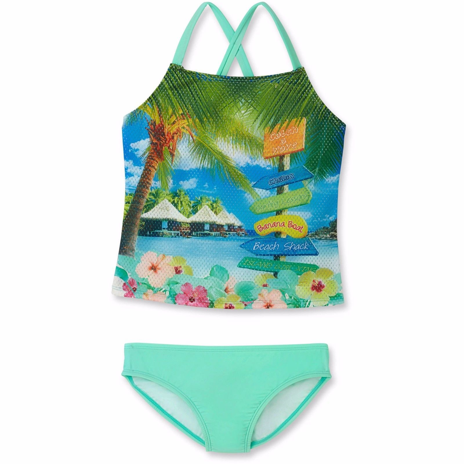 50d25fab26c5 Ocean Pacific Girls 2 Piece Swim Tankini Set and similar items. 57