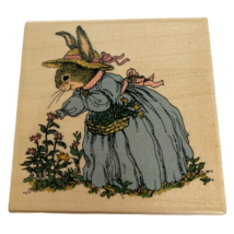 Uptown Rubber Stamp Holly Pond Hill Bunny Rabbit Picking Flowers Susan W... - $34.99