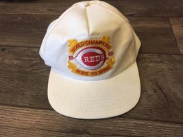 Vintage 1990 Reds World Champions Wire To Wire Trucker Hat SnapBack White - $30.84