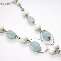 Necklace Silver 925, Spheres Agate White, Aquamarine Drop, Pendant, Ovals image 4
