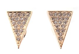 Jules Smith Gold Cubic Zirconia Crystal Pave Elongated Triangle Stud Earrings image 2