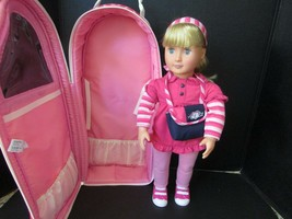 "2012 Battat 18"" Doll With Pink Outfit Purse And Battat Doll Carrier Blonde Hair - $9.85"