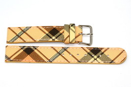 18mm Orange Plaid Print Stitched Watch Band Strap - $8.90