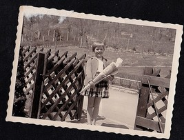 Antique Vintage Photograph Adorable Little Girl Holding Flowers By Fence - $5.35