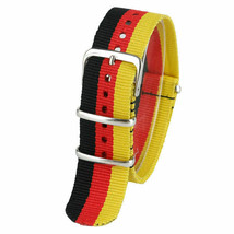 20mm X 255mm Nato Canvas Nylon wrist watch Band strap BLACK RED YELLOW P2 - $10.42