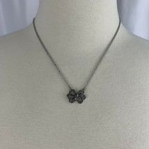 Avon Bow Pendant Necklace Dainty Silver Tone Faux Marcasite Signed Open Work - $11.84