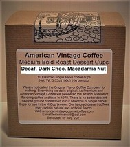 Decaf. Dark Choc. Macadamia Nut Flavored Dessert Coffee 10 Medium Bold K... - $10.41