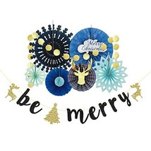 pinkblume Christmas Fan Decorations Kit with Blue Paper Fan (Gold and Blue) - $23.13