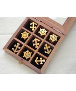 NAUTICAL TIC TAC TOE GAME BIRTH DAY GIFT GLASS TOP & BRASS EMBOSSED - $21.29