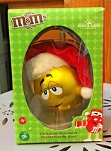 Kurt S Adler M&M's Boxed Christmas Ornament Yellow in Santa Hat NEW - $7.91