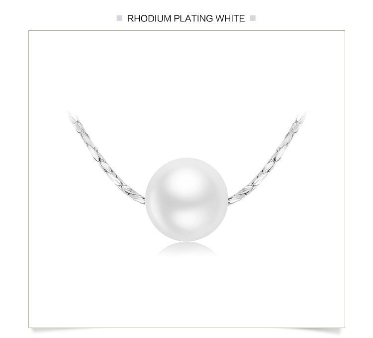 FASHION  PEARL PENDANT NECKLACE RHODIUM PLATED 16 IN CHAIN WEDDING NECKLACE '17