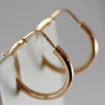 18K ROSE GOLD EARRINGS LITTLE CIRCLE HOOP 18 MM 0.71 IN DIAMETER MADE IN ITALY image 2