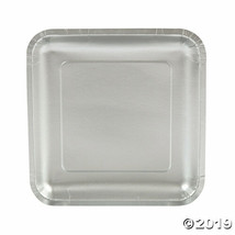 Metallic Silver Paper Square Dinner Plates, Set of 18, Choose from 18 co... - $13.14
