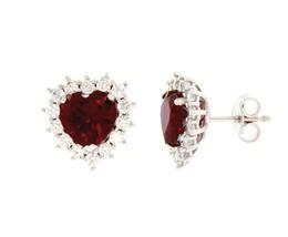 18K WHITE GOLD HEART EARRINGS, RED RECRYSTALLIZED RUBY, ZIRCONIA FRAME image 1