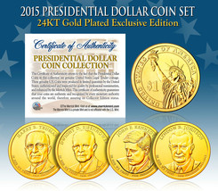 2015 MINT 24K GOLD USA PRESIDENTIAL $1 DOLLAR 4 COIN SET Completed - $21.03