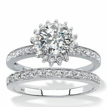 1.93 TCW Created White Sapphire and Diamond Platinum over .925 Silver Ri... - $169.99