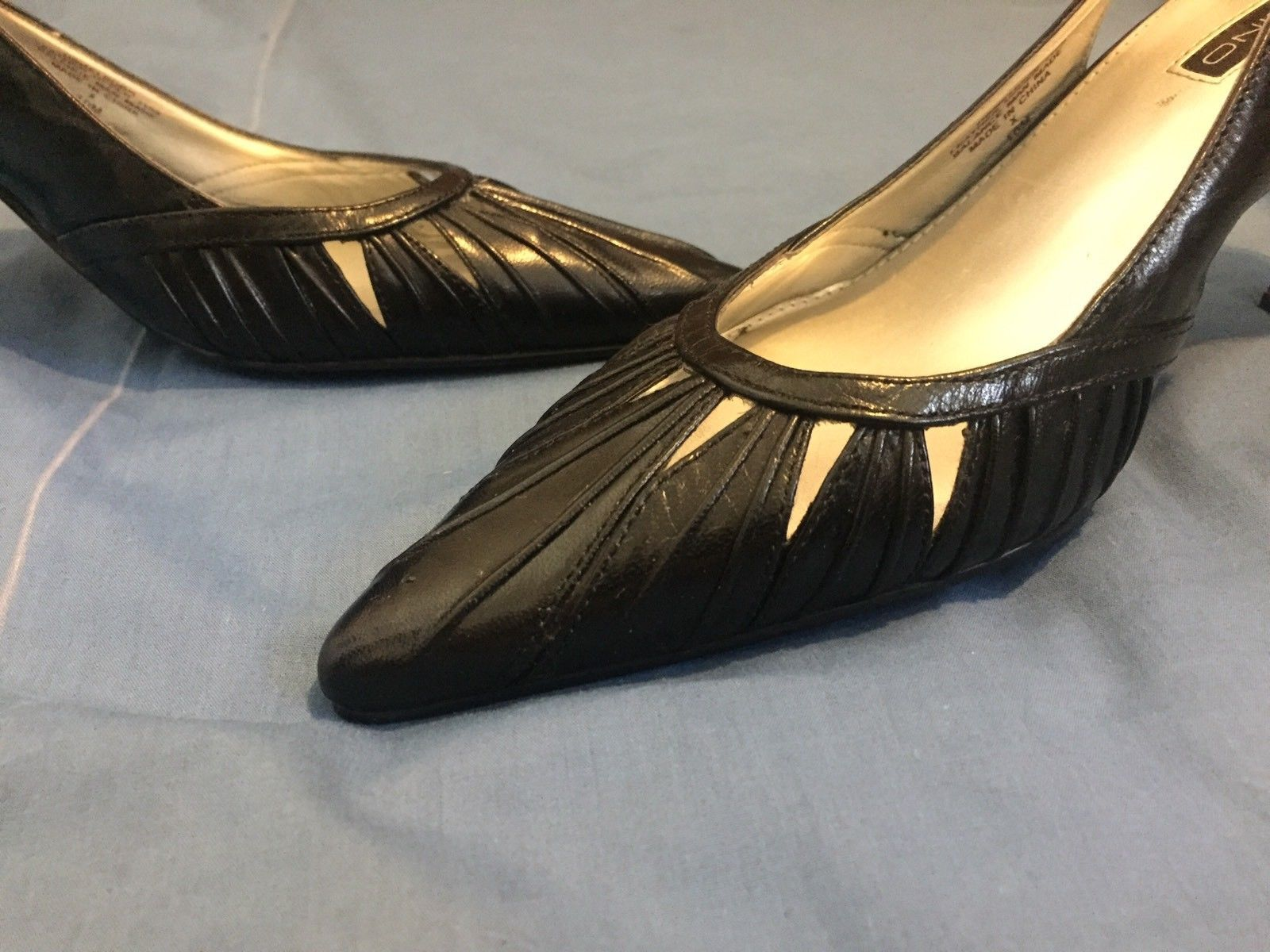 395d96c826 S l1600. S l1600. Previous. Bandolino Black Leather Pointed Toe Pumps Heels  Slingback 10M Free Shipping