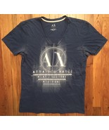 Armani Exchange AX Dark Blue Short Sleeve V-Neck Tee T-Shirt Small S - $14.99