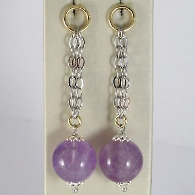 EARRINGS SILVER 925 RHODIUM HANGING WITH AMETHYST PURPLE ROUND NATURAL