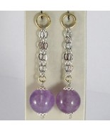 EARRINGS SILVER 925 RHODIUM HANGING WITH AMETHYST PURPLE ROUND NATURAL - $72.13