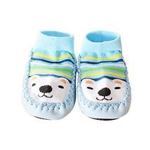 1 Pair Cartoon Winter Warm Baby Toddler Non-Slip Socks Thick Floor Socks, Blue B